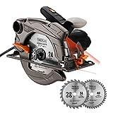 Kreissäge, TACKLIFE Handkreissäge 1500W 4700U mit Laser, Max. Schnitttiefe 65mm, 2 Blättern,...