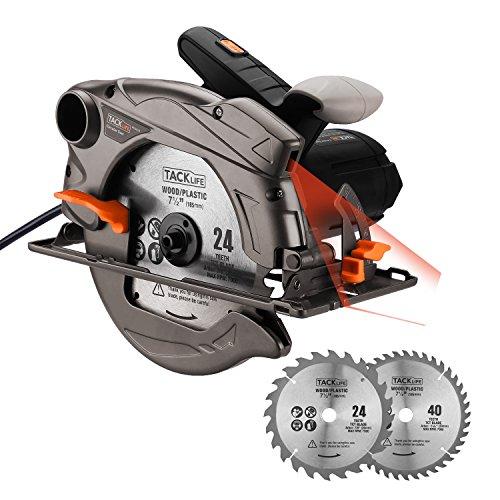 Kreissäge, TACKLIFE Handkreissäge 1500W 4700U mit Laser, Max. Schnitttiefe 65mm, 2 Blättern, Sicherheitsschalter, für Holz/Kunststoff/Metall - PES01A