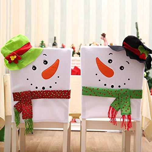 VHJ Fundas para sillas de muñeco de Nieve, Decoraciones navideñas para el hogar, Mesa de Cena, Asiento de Fiesta, decoración, muñeco de Nieve Verde Negro