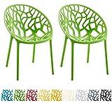 CLP 2er-Set Gartenstuhl Hope aus Kunststoff I 2X Wetterbeständiger Stapelstuhl mit Einer max. Belastbarkeit von: 150 kg I erhältlich Grün