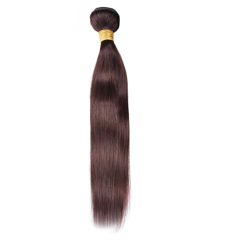 エアコン葡萄靴HOHYLLYA 100%人毛バンドル - 茶色のストレートヘアエクステンション縫う人の毛髪ロールプレイングウィッグレディースナチュラルウィッグ (色 : ブラウン, サイズ : 18 inch)