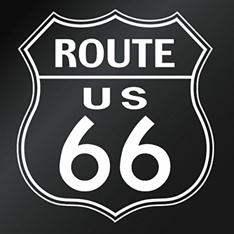 エッセイ夜明け作成する【カッティングステッカー アメリカ ルート66(Route 66) 2枚組 幅約15cm×高約16cm カラー:白(ホワイト)】ハンドメイド 国道66号線 道路標識 アメリカ アメリカン ウインドウステッカー。