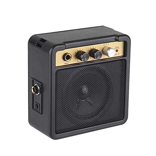 Muslady Mini Amplificador de Guitarra Altavoz 5W con Entrada de 6.35mm Salida de Auriculares de 1/4 pulgad Soporta Ajuste de Tono de Volumen