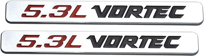 2x 5.3l Vortec Hood Emblems Engine Badge Replacement for Silverado Z71 GMC Sierra (Chrome) (Red Black)