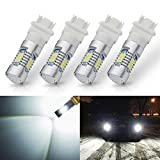 ANTLINE Extremely Bright 3157 3156 3057 4057 4157 3157A 3157K 3457 21-SMD 1260 Lumens LED Bulb Replacement White for Car Backup Reverse Brake Tail Turn Signal Lights Bulbs DRL (Pack of 4)