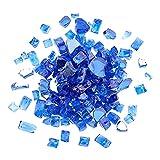 AHANDMAKER Vidrio para Fogatas, Vidrio de Fuego Templado Reflectante Azul Cobalto de 1 Libra, Fire Pit Glass Rock para Chimenea de Gas, Vidrio Refractario Templado Reflectante para Fogatas Chimeneas