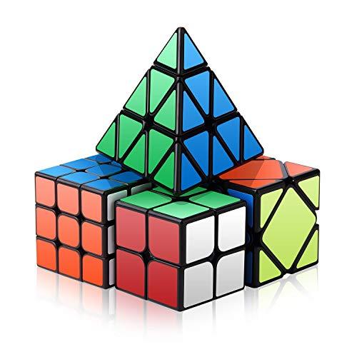 ROXENDA Speed Cube Set, Cubo Mágico Conjunto de 2x2x2 3x3x3 Skew Pyramid 3D Puzzle Cubo - Pegatina Superdurable con Colores Vivos - Gira más Rápido y con más Precisión Que el Original