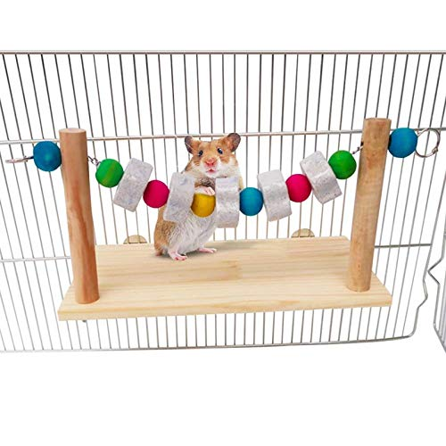 Hamster Wood Ledge Platform with Lava Stone Block Chew Toys,Pet Cage Resting Wooden Shelf for Chinchilla Guinea Pig Gerbil Mouse Rat
