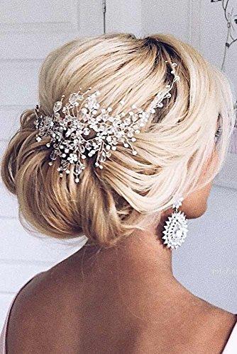 Kercisbeauty - Cerchietto per capelli fatto a mano, a forma di foglie di vite, con strass e perle, per sposa e feste