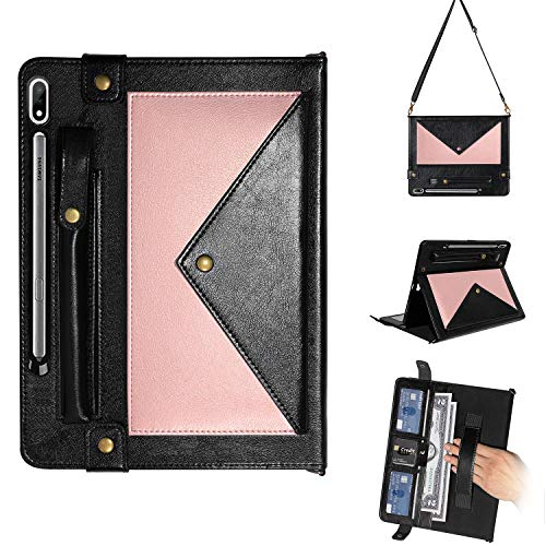 Galaxy Tab S7 Plus Cover Case, SM-T970 Case, UGOcase PU Leather [S Pen Holder] [Hand/Shoulder Strap] Handbag Case for Samsung Galaxy Tab S7 Plus 12.4' 2020 Release Model SM-T970/T975/T976, Rosegold