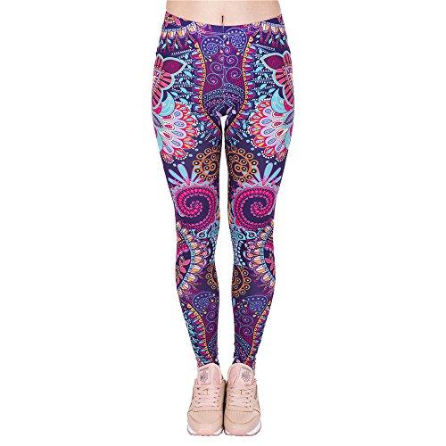 Hanessa Frauen Leggins Lila Pink Türkis Bedruckte Leggings Hose Frühling Sommer Kleidung Mandala Blumen L24