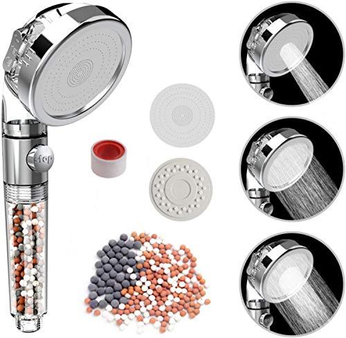 Rovtop Soffione Doccia Anticalcare Alta Pressione - Universale 3 Mode Soffione Per Doccia,55% di risparmio idrico,Filtro e Sfera Minerale