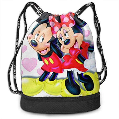 shenguang Mic-key Mo-use Drawstring Backpack Pull String Bags Large Size Zipper Water Resistant Sports Gym Shopping Yoga Dance Beach Gifts Sackpack Women Men Children
