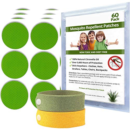 Mosquito Repellent Patches | 60 Stickers, 24-Hour Protection of Insects, Bugs | 100% Natural Essential Oils, Non-Toxic | Apply to Skin & Clothes for Adults, Kids + 2 Mosquito Repellent Bracelets