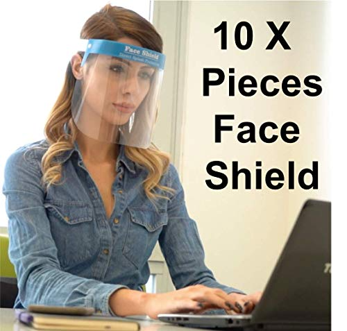 Karen 10X Stück Gesichtsschutz Zertifiziert Visier aus Kunststoff - Face Shield - transparentes Gesichts Schutzschild mit verstellbarem Gummiband für Männer Frauen - Blau - Made in Europe