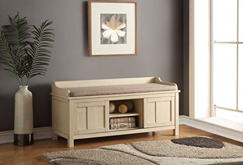 Acme Furniture 96620 Rosio Bench with Storage, Fabric & Cream