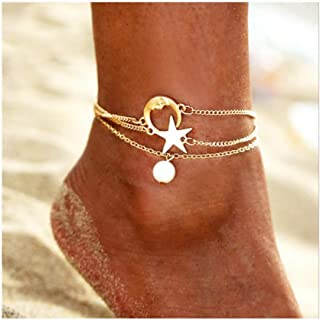 Adflyco Boho Anklets Set Gold Pearl Anklet Bracelets Star Beach Foot Jewelry Adjustable for Women and Girls (3Pcs)