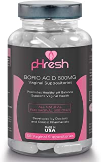 Boric Acid Vaginal Suppositories pHresh – Promotes Healthy Vaginal pH Balance,..