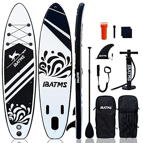 IBATMS Tabla de surf de remo hinchable de 10'6' x 32' x 16' | 6 pulgadas de grosor | con bomba de inflado completo accesorios