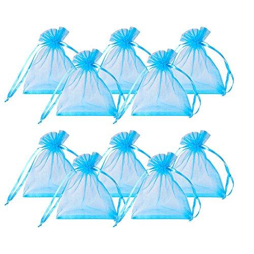 PandaHall Elite 200PCS Sacchetti Organza Sacchetti Regalo Sacchetti Portaconfetti per Battesimo Confetti Matrimonio bomboniere Colore Azzurro 10x12cm