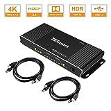 TESmart 4 Ports HDMI KVM Switch 4K@60Hz 4:4:4 Ultra HD   4x1 KVM Switcher 4 in 1 Out mit 2 Stück 1,5m KVM Kabeln unterstützt USB 2.0 Geräte Steuerung von bis zu 4 Computern/Servern/DVRs-Mattschwarz