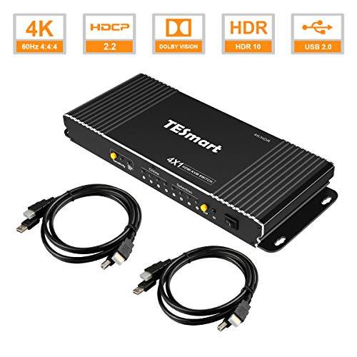 TESmart 4 Ports HDMI KVM Switch 4K@60Hz 4:4:4 Ultra HD | 4x1 KVM Switcher 4 in 1 Out mit 2 Stück 1,5m KVM Kabeln unterstützt USB 2.0 Geräte Steuerung von bis zu 4 Computern/Servern/DVRs-Mattschwarz