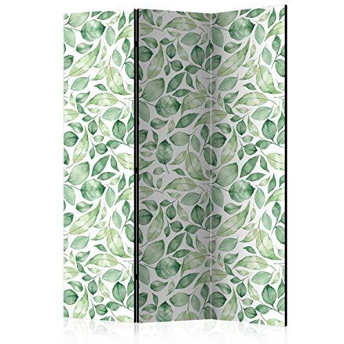 murando Raumteiler & Pinnwand Foto Paravent Blätter 135x172 cm beidseitig auf Vlies-Leinwand Bedruckt Trennwand Spanische Wand Sichtschutz Raumtrenner grün weiß b-C-0249-z-b