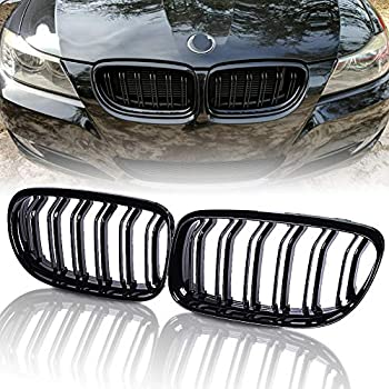 runmade Pair Front Bumper Kidney Grille Grill Glossy Black Dual Slat Double Line Compatible with BMW 2009 2010 2011 E90 316i 318i 320i 323i 325i 328i 330i 335i