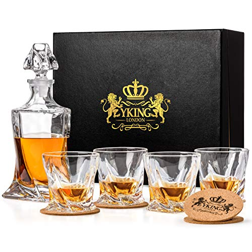 Decanter Set 9 Piece in Premium Gift Box from YKing London - Whiskey Bourbon Scotch Tequila Rum Vodka Decanter Set - Whiskey Decanter and Glass Set
