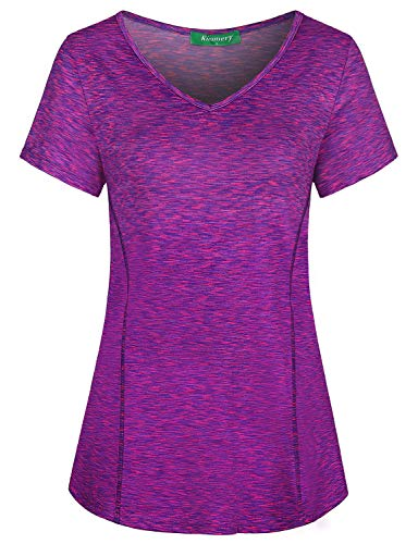 Kimmery Sports Shirts for Women, Ladies Sporty Working Out Biking Tennis Soccer Active Shirt Summer Comfort Vneck Short Sleeve Leisure Tops Purple Pink XX Large