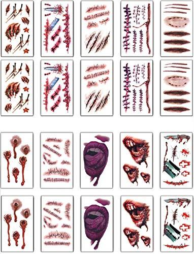 Halloween Tatuajes(20 hojas), UMIPUBO Tatuajes Temporales Zombie Cicatrices Tatuajes Pegatinas con Falso Scab Sangre Especial Fx Costume Maquillaje Props (B)