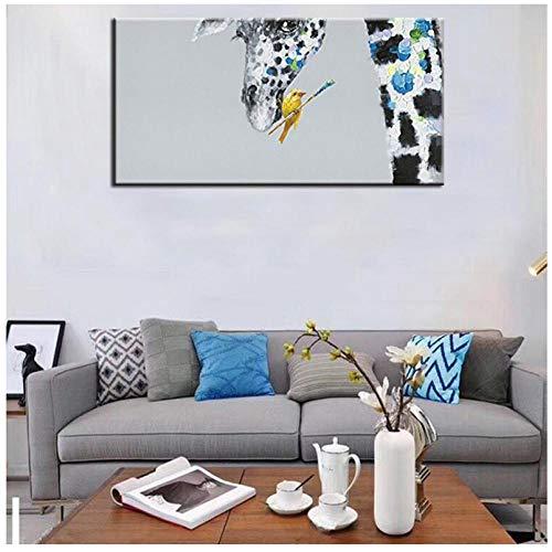 Gtfzjb Große lustige Giraffe Bilder moderne Messer Tierkunst handgemalte abstrakte Cartoon-Ölgemälde Wohnkultur Wand Kunst Bilder-40x50cm