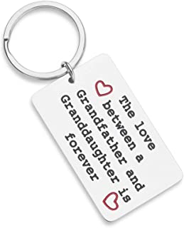 Gifts for Grandpa Birthday Keychain for Grandfather from Granddaughter for Fathers Day The Love Between A Grandfather and Granddaughter is Forever Christmas Family Gift for Grandad Grandparent Men Him