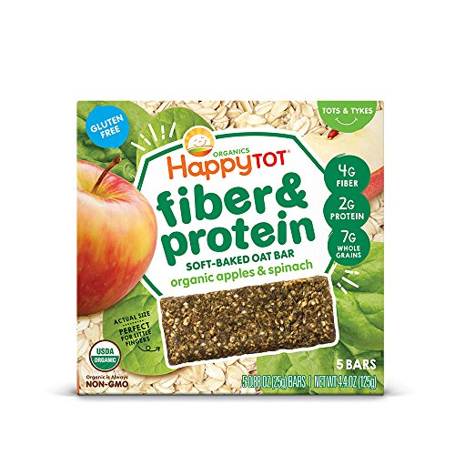 Happy Tot Organics Fiber & Protein Soft-Baked Oat Bars, Organic Toddler Snack, Apple & Spinach, 5 Count