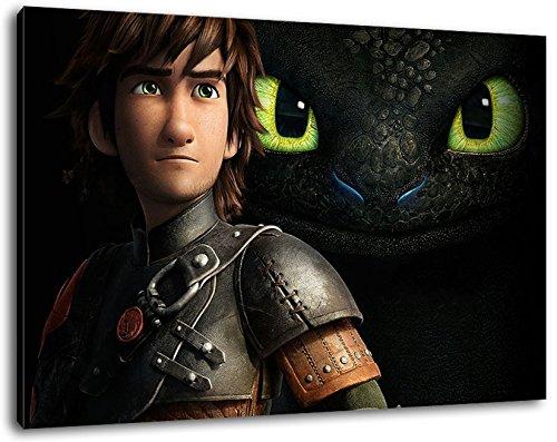 Dark how to train your dragon Bild auf Leinwand -- 60x40 cmfertig gerahmte Kunstdruckbilder als Wandbild - Billiger als Ölbild oder Gemälde - KEIN Poster oder Plakat
