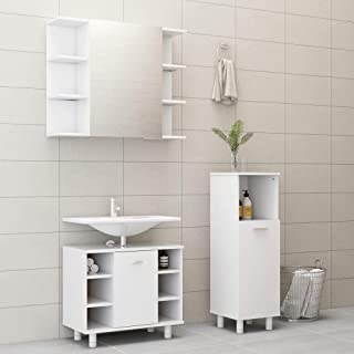 vidaXL Bathroom Cabinet with 6 compartments and 2 Doors Storage Cupboard Laundry Room Washroom Rack Interior Furniture White Chipboard