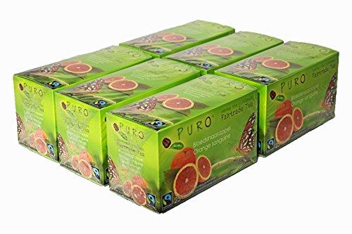 Früchtetee Fruchttee BLUTORANGE Orange Miko FAIRTRADE Puro Tee Blutorangentee Orangentee Grosspackung - je 6 x 25 Teebeutel