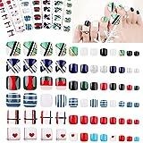 144 piezas cuadrado corto Uñas Falsas, EBANKU uñas postizas artificiales de colores, cubierta completa, prensa en uñas postizas para Decoración de Uñas