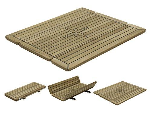Teak-Tischplatte Wing 34/68x60cm