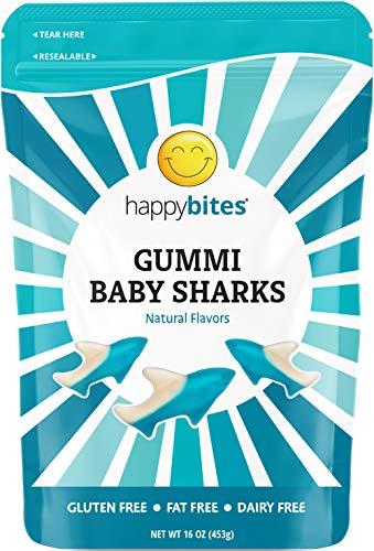 Happy Bites Gummi Baby Sharks - Blue Raspberry, Cherry, & Lemon Lime - Gluten Free, Fat Free, Dairy Free - Resealable Pouch (1 Pound)