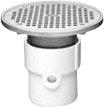 Oatey 72358 PVC General Purpose Pipe Fit Drain with 8-Inch Cast NI Grate and Round Top, 4-Inch