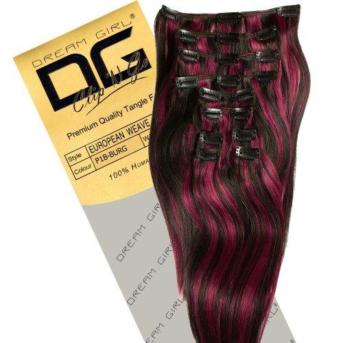 Dream Girl Extensions de cheveux à clipser Couleur 1B/BUR 35 cm
