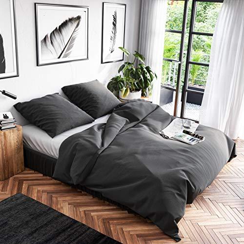 Wolkenfeld Bettwäsche 220x240 Baumwolle Grau - Atmungsaktiv - 3teilig - 1x Bettbezug 220x240 + 2X Kissenbezug 80x80 - Anthracite