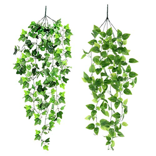 Cabilock Artificial Plants Hanging Ferns Fake Ivy Garland Greenery Branches Hanging Plants Wedding Deocration For Table Runner Wedding Holiday Fireplace Mantel Green 2pcs