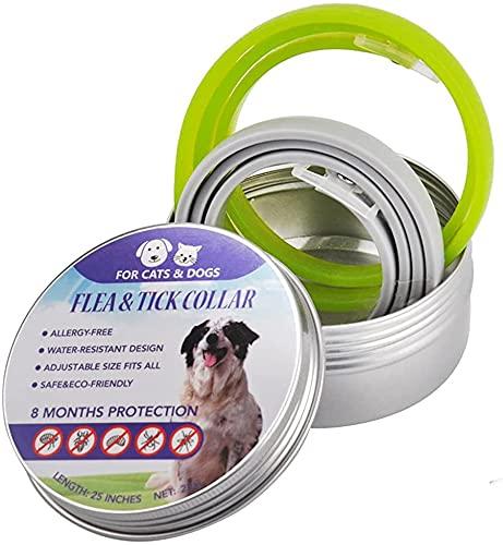 B jade (2 Piezas) Collar Ajustable para Piojos Y Pulgas Impermeable, Repelente De Insectos Natural Collar De Pulgas para Perros con Aceite Esencial, Protección Eficaz Durante 8 Meses,