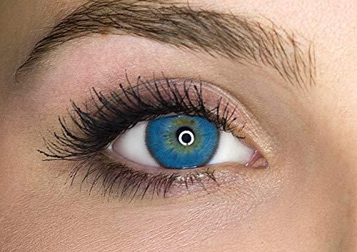 Kontaktlinsen farbig ohne Stärke farbige Jahreslinsen weiche Linsen soft Hydrogel 2 Stück Farblinsen + Linsenbehälter 0.0 Dioptrien natürliche Farben Serie Mystery Blue (blau)