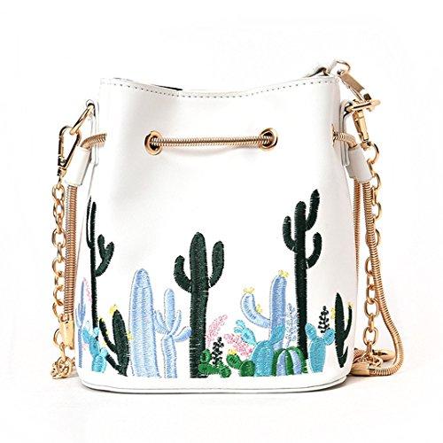 Milya Damen Eimer Umhängetasche Schultertasche Stickerei Gemustert mit Kordelzug Metallkette Kaktus Weiß