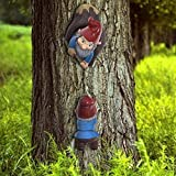 Unique Garden Sculpture Cartoon Dwarf Climbing Tree Hanging Ornaments - Gartenzwerg Ornament - Witzige Zwergenstatue für Rasenschmuck, Innen- oder Außendekorationen - Polyresin, vollfarbe