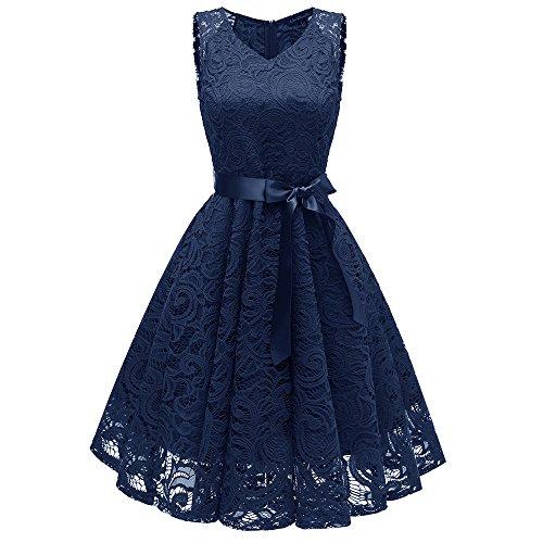 Damen Vintage Prinzessin Blumen Spitzekleid,TWIFER Cocktail V-Ausschnitt Party A-line Swing Kleid Abendkleider Hochzeitskleid (L, Marine)