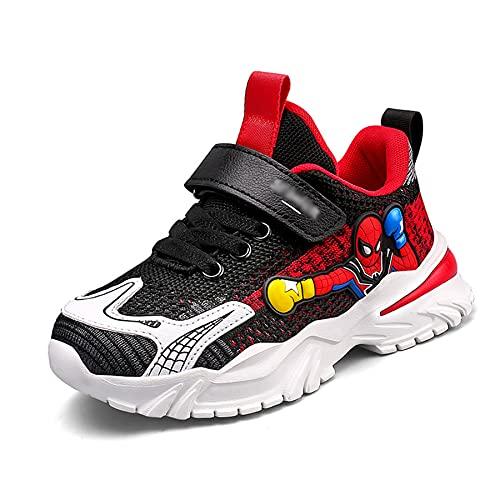 Enfants Spiderman Baskets Garçons Running Sneakers Filles École Chaussures Plates Respirant en Maille Athlétique Léger Mode Fitness De Marche,Black-37 (Inner Length~24CM)
